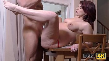 DEBT4k. Red-haired dame sucks dick and gives pussy for penetration