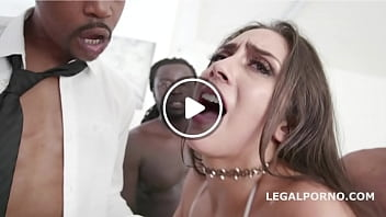 Gangbang with anal nympho Lilly Hall getting DP DAP fucked until creampie