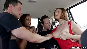 Small tits ebony Skin Diamond and big tits redhead Krissy Lynn brought by hogtie crew in Las Vegas motel and tied group fucked in various positions