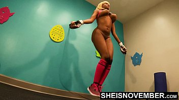 4K Msnovember Jumping Rope By Pervert Boxing Coach Who Love A Skinny Black Girl With Large Busty Breasts And Slim Young Blonde Butt , Slim Waist Jiggling While Exercising In His Gymnasium HD Sheisnovember