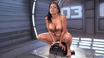 Big fake tits tanned brunette solo beauty Luna Star masturbates with vibrator then shoves big dildo machine in wet squirting pussy till finishes on Sybian