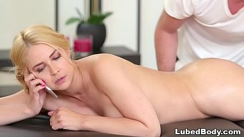 Blonde wife fucked by masseuse