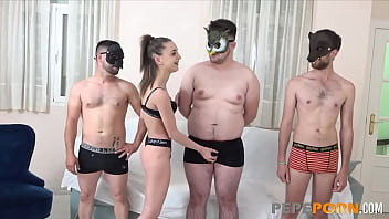 Teen tastes the cocks of 3 very lucky dudes