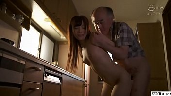 Japanese old father in law with petite and tiny daughter played by JAV star Noa Eikawa perverted kitchen messy blowjob and standing doggystyle sex while wife is away in HD with subtitles