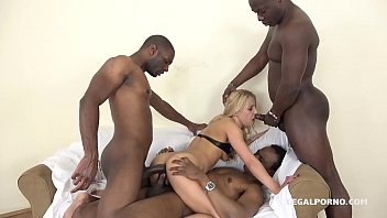 Interracial double anal penetration makes Hungarian Nikky Thorn suck up 3 loads of cum