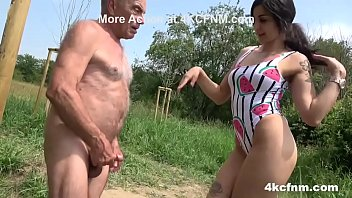 Babe plays with dirty old cock outdoor