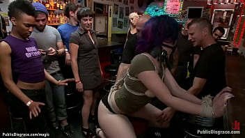 Blonde mistress Lorelei Lee tazappers hot bound slut Proxy Paige in crowded public bar then fists her ass and makes her blindfolded suck huge cock to Mr Pete