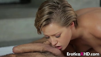 Short-haired horny blonde