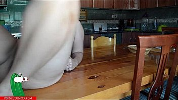 Pussy food on the kitchen table Thumbnail