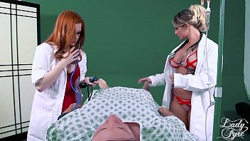 Redhead and Blonde doctors fucking male patient