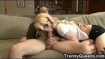 90 lbs Teen Tranny Tastes Her Own Cum!
