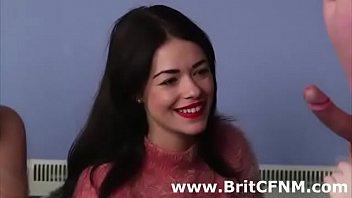 Bad British girls interview CFNM amateur dude