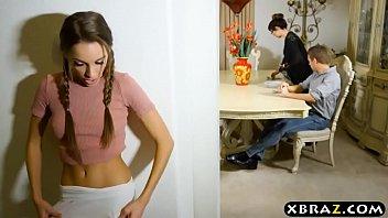 Skinny babe seduces husband