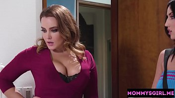 Angry girl seen a mature stepmom and other girl in action