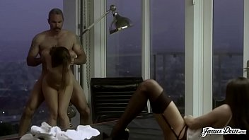 Wife fucked by husband while secretary watches