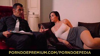 VIP SEX VAULT - Busty European brunette gets boobs massage