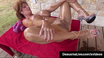 Mature Milf Deauxma is exercising on the front porch totally naked, working her hot body out for her neighbors to see!