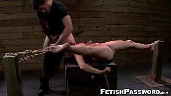 Brunette babe in bondage fucked hardcore
