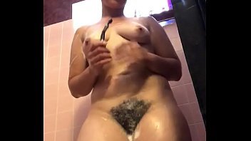 Extremely Hairy Bush in the shower