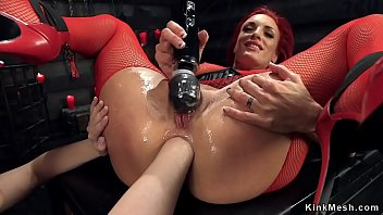 Sexy brunette lesbian anal fucking redhead Milf with fist and strap on cock