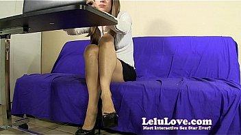 Secretary fingers her pussy upskirt under desk