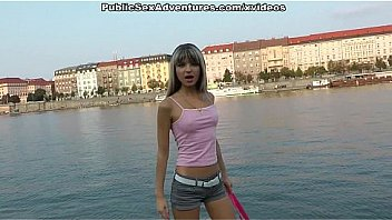 Sexy blonde picked on a embankment and fucked publicly