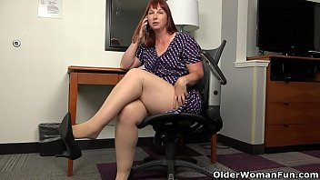 Small titted and big bottomed BBW milf Scarlett has phone sex in tan-colored pantyhose at the office. Bonus video: American milf Pink.