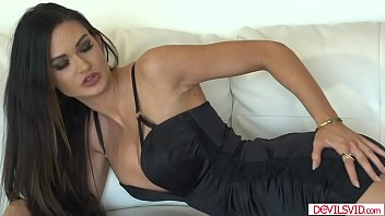 Gorgeous busty brunette getting fucked hard by her guy