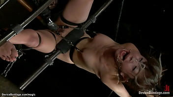 Japanese slut Marica Hase with neck locked gets throat gagged with dildo then tied and suspended pussy fingered and ass fucked with dildo by dom Claire Adams