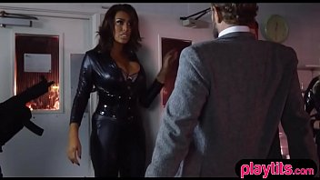 Busty secret agent chicks in catsuits gets fucked hard