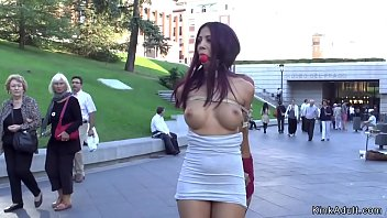 Stunning Euro slaves gagged and tied up back to back humiliated and d. outdoor