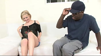 Horny lolita does not shy away from sucking on the black cock before a hard fuck