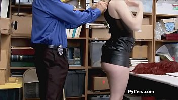 Security guard on a sexy perky blonde pilfer