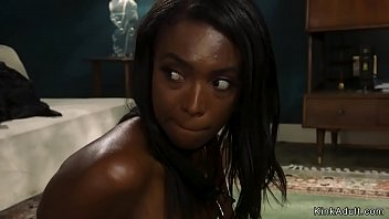 Ebony wife has kinky fantasy be tied in her home by intruder and soon after in tight rope bondage she gets rough banged