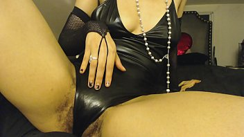 Humping my Hand through Latex Leather Lingerie, Slightly Hairy
