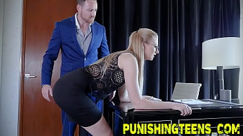 Kinky assistant submissive rough fucking and getting throat fucked