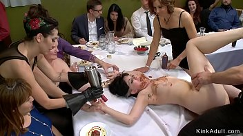 At public soup course busty tied brunette babe dragged and vibrated for attendees