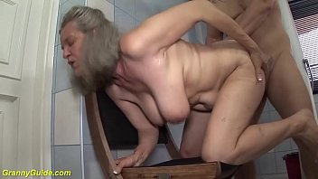 gray haired big natural breast 83 years old grandma enjoys extreme rough tit fuck at the bathroom by her horny stepson