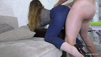 Ripped classmate jeans and fucked her big ass