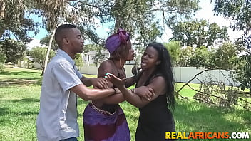 Ebony bounces her big booty on a black dick in public and gets fingered hard until orgasm