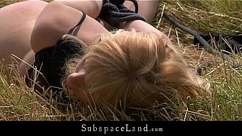 Blonde slutty bound and fucked on the field