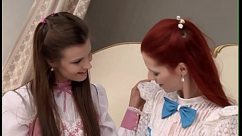 Two marvelous and naughty lesbo teens lick and finger on web camera