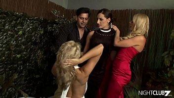 Three super hot babes share a dick