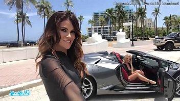 CamSoda - Latina Car Sex in Lambo with Blonde in Public