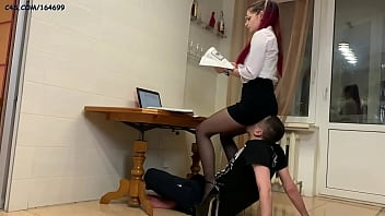 Strict Mistress In High Heels and Glasses Facesitting and Back Sitting Human Furniture Femdom Humiliation (Preview)