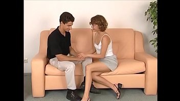 Young curly floozie Anna with small tits has her first job interview