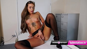 Sexy office girl Poppy May wanks with her little tits out