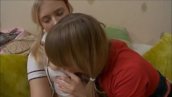 Beautiful lesbian blonde teen Irena and Blake play with pink dildo
