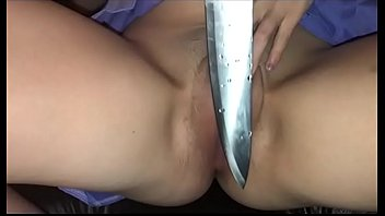 Knife in pussy porn