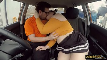 Dirty BBW girl fucked by fake driving instructor